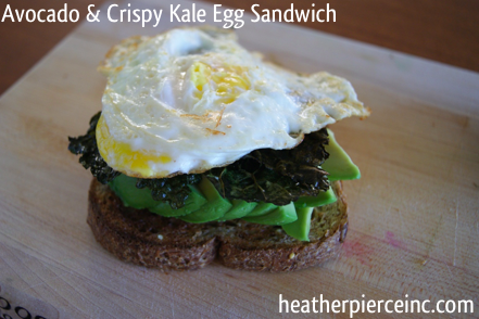 Best Breakfast Ever: Avacado, Egg, & Crispy Kale Sandwich