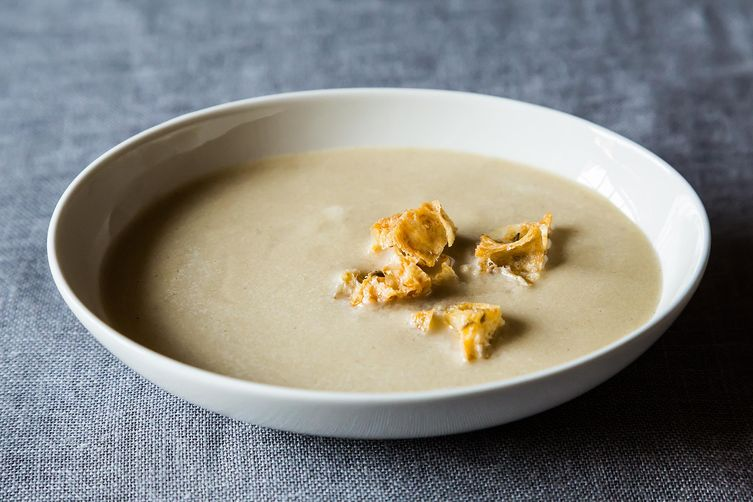 Roasted Garlic Soup with Olive Croutons Recipe on Food52
