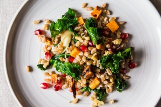 Farro with Roasted Sweet Potato, Kale and Pomegranate Seeds