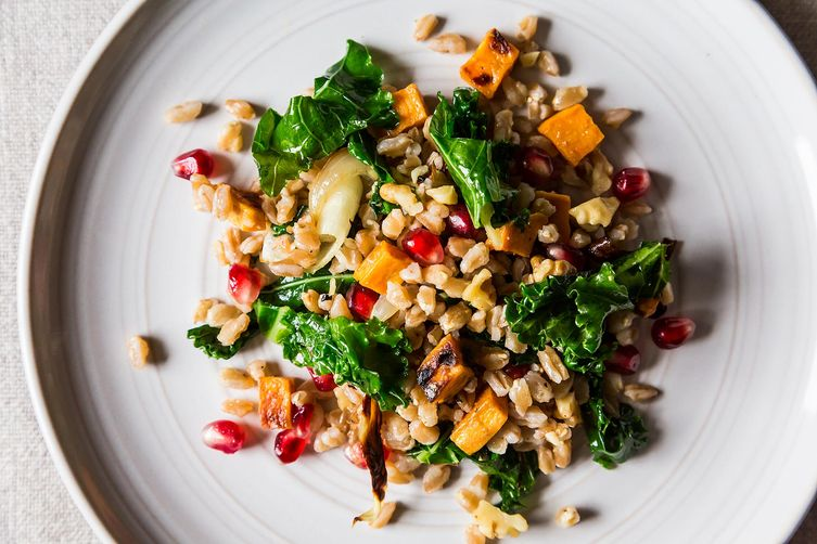 Farro with Roasted Sweet Potato, Kale and Pomegranate Seeds from Food52