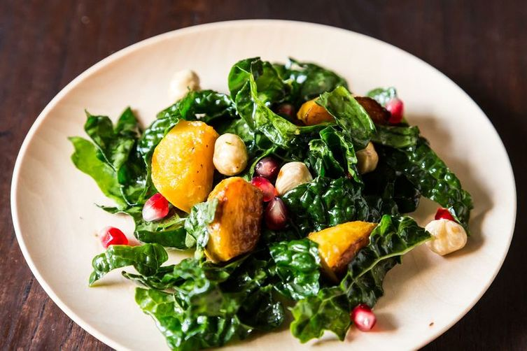 ... Kale Salad with Kabocha Squash, Pomegranate Seeds, and Toasted