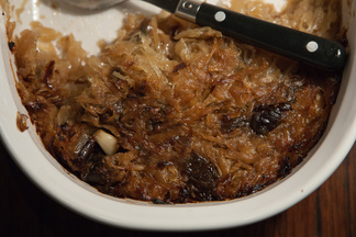 Carmelized sauerkraut with prunes, herbs and honey