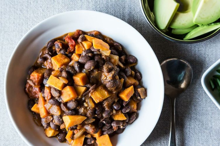 Smoky Black Bean and Sweet Potato Chili from Food52