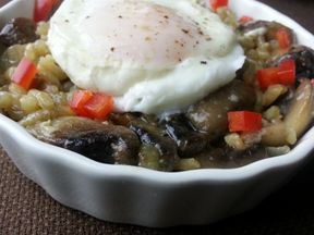 SUGAR - FREE Mushroom Coconut Risotto  with Poached Egg