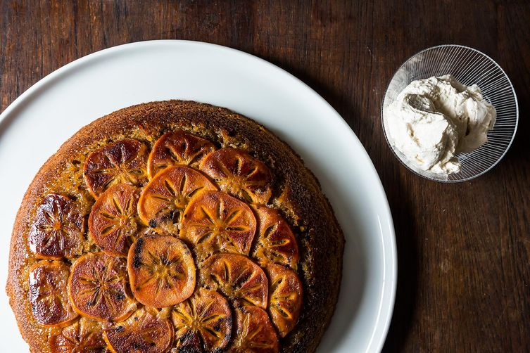 Maple Persimmon Upside Down Cake from Food52