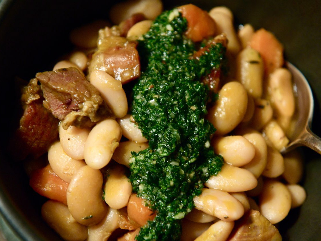 LIMA BEAN &amp; HAM STEW WITH PISTOU