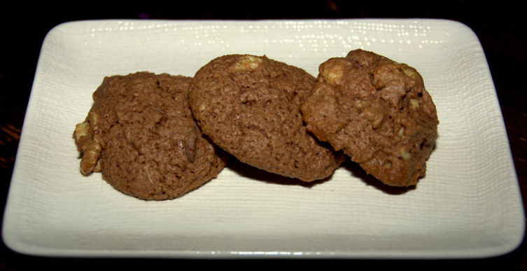 Cocoa Cookies with Chocolate Chips and Walnuts