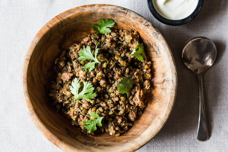 Crispy Lentils with Ground Lamb
