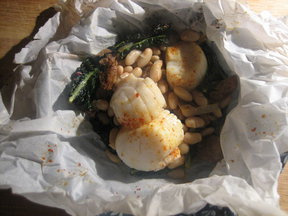 Kale, Andouille, Scallop, White Bean, and Piment d'Esplette - in Parchment