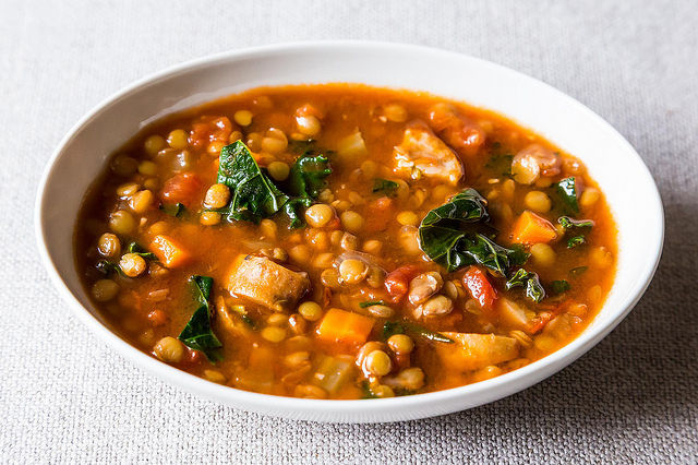 Lentil and Sausage Soup with Kale