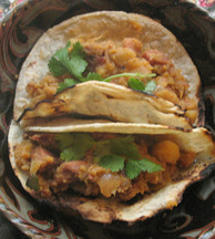 Chorizo and Potato Tacos with Salsa Verde