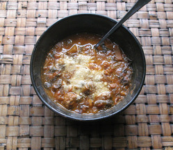 Spicy Smoked Beef Chili with Chipotles,Chorizo,Beans & Corn,Served w/ Lime Crema