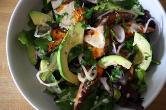 avocado &amp; roasted sweet potato salad. 