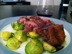 Duck Breast with Kohlrabi Mash, Butter Braised Brussels Sprouts, & Vino Drizzle