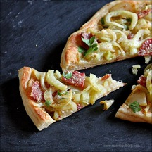 Skillet Pizza with Caramelized Fennel, Onions and Salame