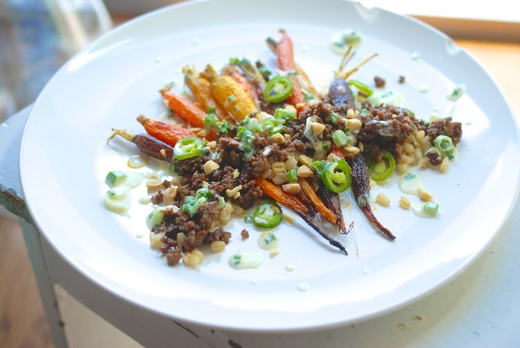 Slow-Roasted Carrots with Lamb and Spring Onion Dressing