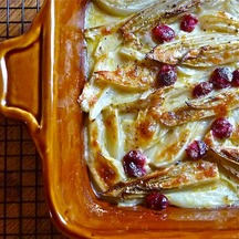 BRAISED ENDIVE AND FENNEL GRATIN WITH CRANBERRIES