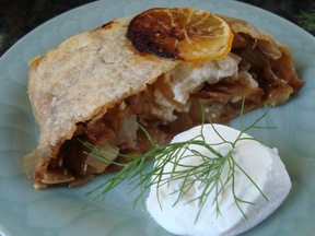 Caramelized Fennel and Onions with Feta in a Puff Pastry Log