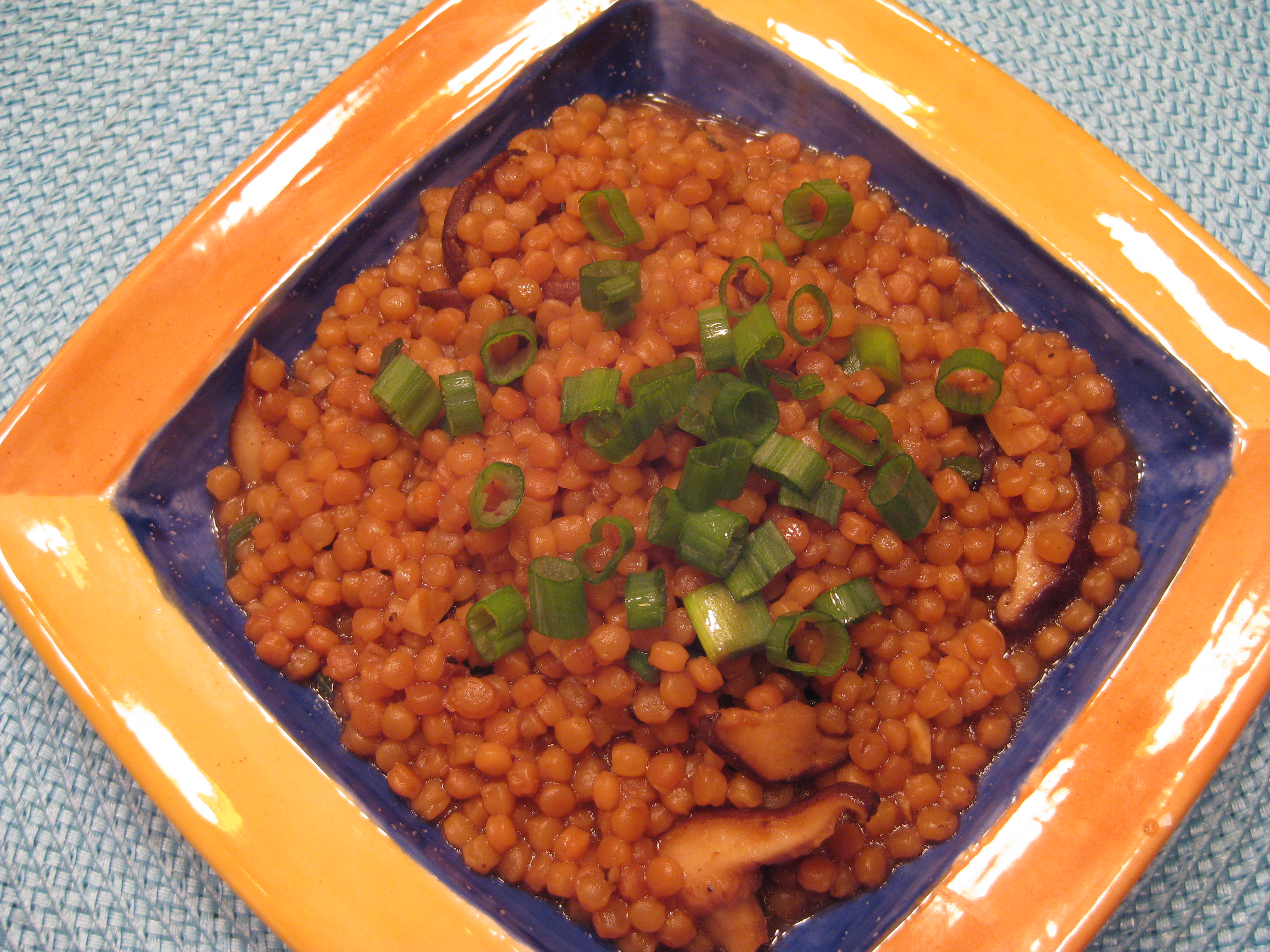 Israeli Couscous with Miso and Shiitakes