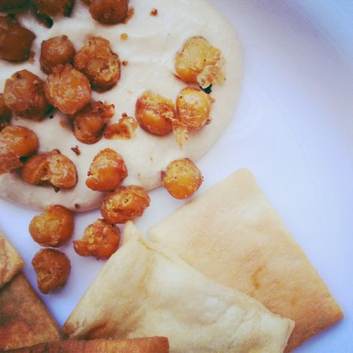 Garlic Hummus with Warm Toasted Chickpeas