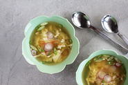 Egg Drop Soup with Ginger, Chiles + Spring Peas