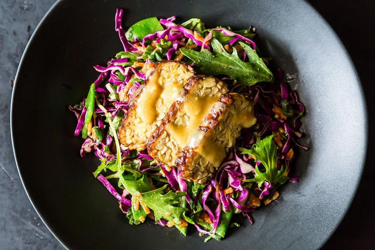 Snow Pea, Cabbage and Mizuna Salad with Tempeh on Food52