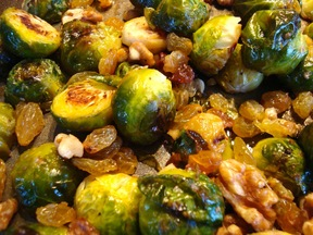 Roasted Brussels Sprouts with Sultanas and Walnuts