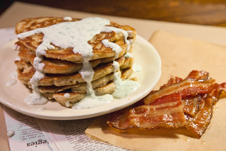 Oatmeal Pancakes with Caramelized Bacon and Herbed Crme Fraiche
