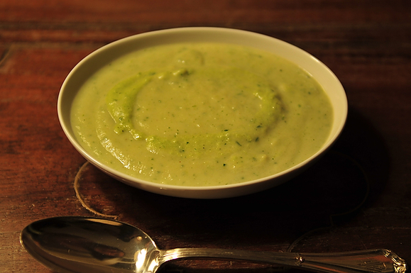 Roasted Cauliflower Soup with Chimichurri and Poblano Creme Fraiche