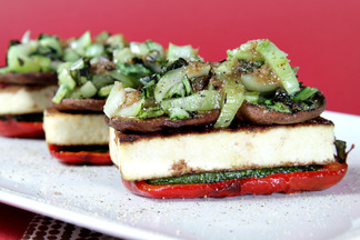 Grilled vegetable napoléons with spicy scallion vinaigrette