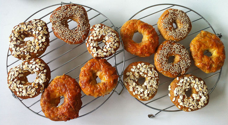 Homemade Honey Oatmeal Bagel