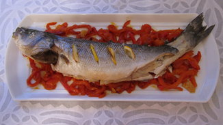 Roasted Sea Bass on a Bed of Pepper Ribbons