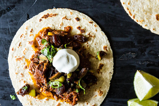 Chipotle Braised Lamb Tacos with Balsamic-Soaked Raisins