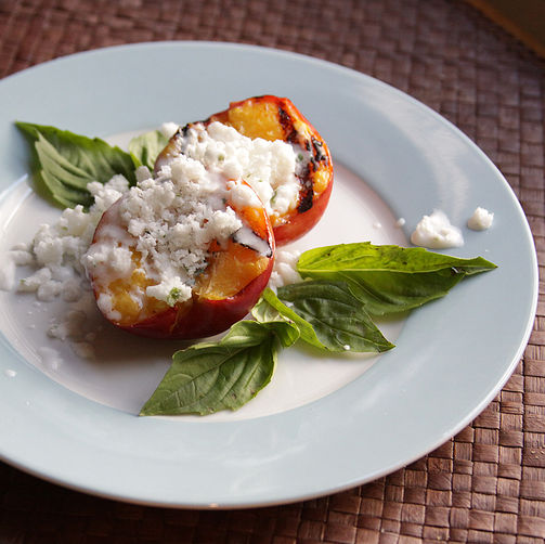 Grilled Stone Fruit with Coconut Snow