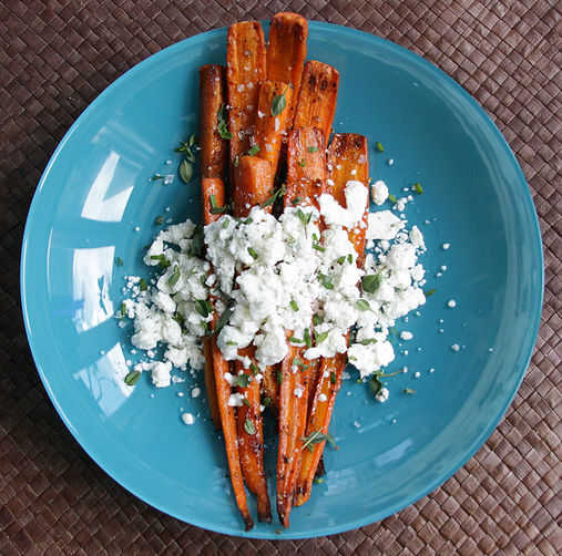"Caramelized Carrots with Herbed Goat Cheese ""Snow"""