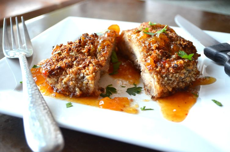 ... Pecan Crusted Chicken served with Sweet and Spicy Apricot Sauce