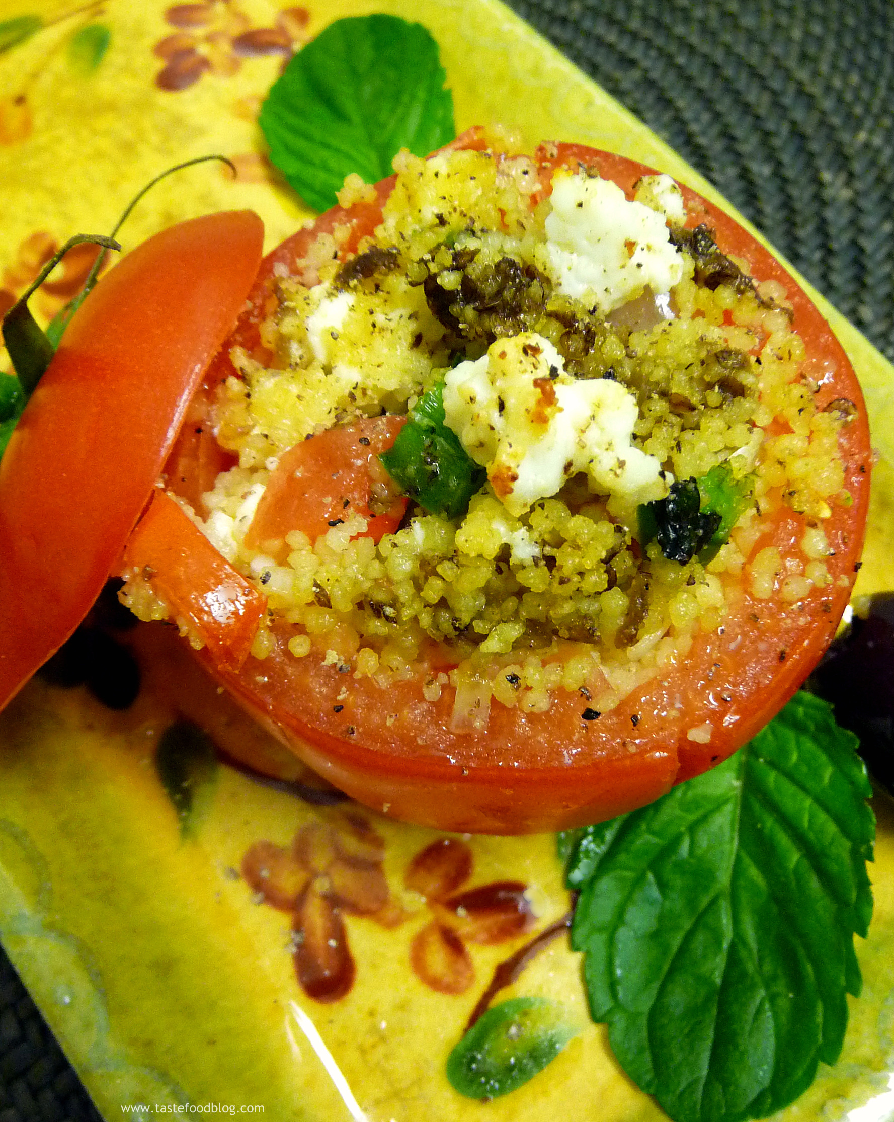Oven Roasted Tomato Dolmas with Spiced Eggplant and Couscous Filling