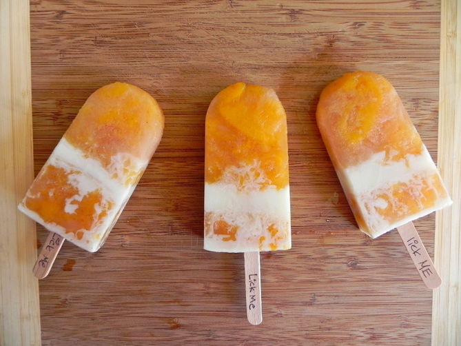 Stewed Peaches & Cream Popsicles