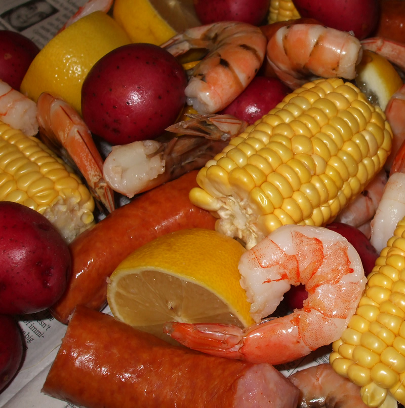 Shrimp Boil for One, with Homemade Cocktail Sauce
