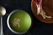 Justin Burdett's Chilled English Pea Soup with Garlic Cream & Pickled Ramps