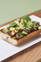 Avocado and grilled onion tartines with roasted coriander-lime vinaigrette