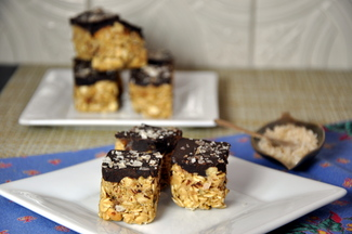 Peanut, Oat & Apricot Bites with Salted Chocolate