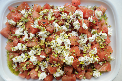 Watermelon and Goat Cheese Salad with a Verbena Infused Vinaigrette