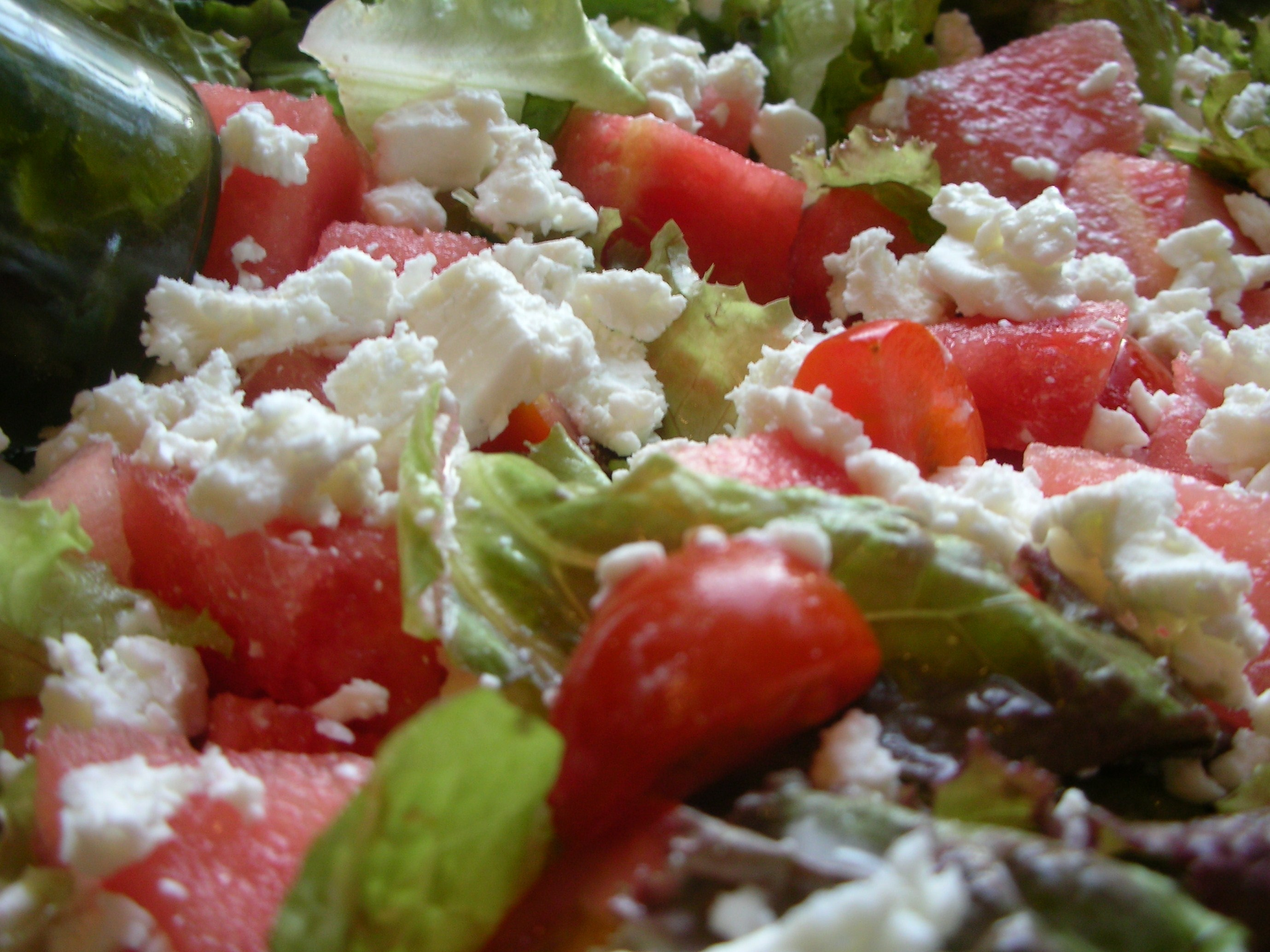 Watermelon Feta Tomato Salad with Basil Vinaigrette