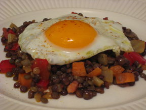 Lentil Salad with Olive Oil Fried Eggs