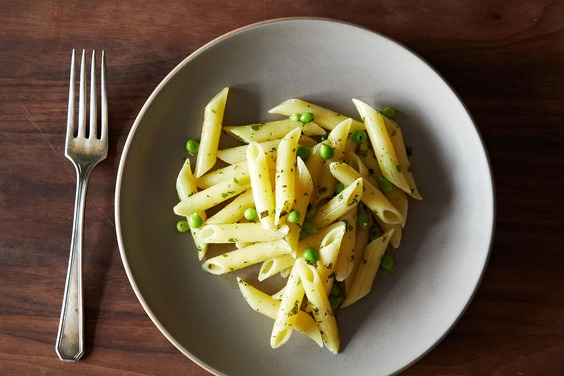Penne with Herb Butter and Peas