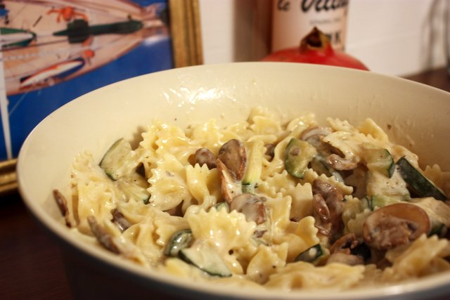 Pasta with Zucchini in a Creamy Mushroom Sauce