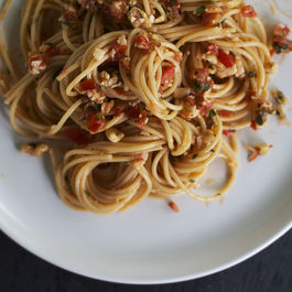 Capellini with Fresh Tomato Pesto + Pecorino by Ruthie Selch