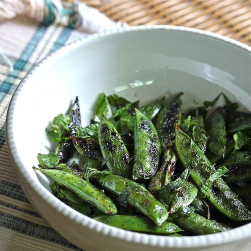 Smokey Grilled Minty Snap Peas