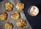Sweet Corn Fritters with Sriracha-Lime Greek Yogurt